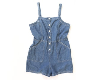 90s Jean Jumper PLAYSUIT Pinafore Summer High Waisted Shorts Denim Overalls Retro Shortalls 1990s Romper Womens Bibs Onesie Minimalist Large