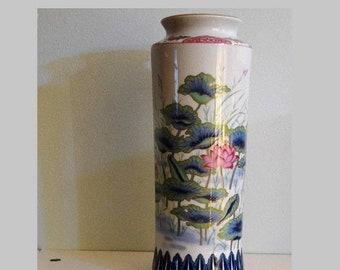 "Memorial Day Sale Imari Style 12"" Tall Porcelain Flower Vase Marked Japan"