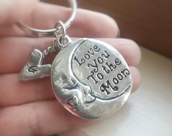 I Love You To The Moon and Back Keychain Initial Personalized Heart Key Ring Gift Pewter Silver