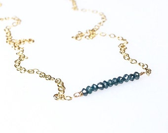 Genuine Blue Diamond Bar Necklace / April Birthstone / Blue Diamond Necklace / Mothers Jewelry / Gift for Wife / Delicate Diamond Necklace