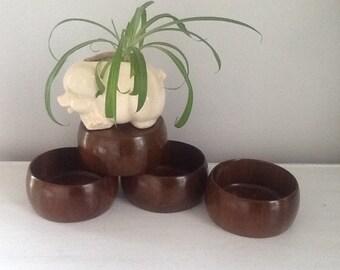Four Rustic Wood Bowls / Wood Snack Bowls / Wood Salad Bowls / Wooden Bowl
