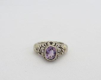 Vintage Sterling Silver Natural Amethyst Filigree Ring Size 6.75