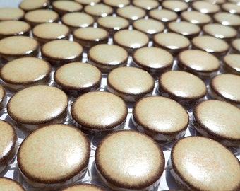 Wheat Brown Ceramic Tiles - Round Mosaic Tiles - 2 cm or .75 inch - 25 Tiles - Penny Rounds