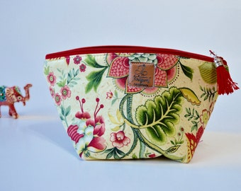 Large Notions Pouch, Zipper Pouch, cosmetic pouch, padded pouch, zip pouch, wedge pouch,  knitting bag, crochet bag