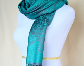 Green Pashmina Scarf / womens gift / Blue scarf / fashion dress evening scarf / fancy scarf Gift for her for wife for Girlfriend for mom