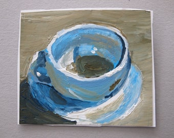 Cup and Saucer Painting Paper Art Small Original Artwork Acrylic Paint Nice Cup of Tea Blue Grey Kitchen Art