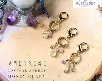 Ametrine Money Charm, purse charm, wallet charm, money luck charm, lucky charm, crystal bag charm,  Money Charm, ULC-MC1