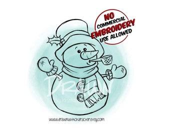 Snowman with Pipe Digital Clip Art/ KopyKake Image