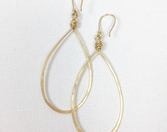 Gold Pear Shaped Hoop Earring Item #602