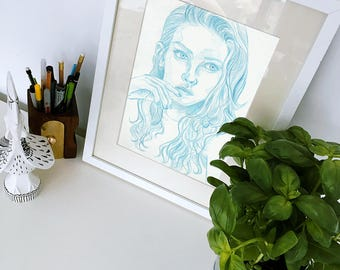Original Colored Pencil Sketch Drawing Art - Girl Woman Portrait Face Study