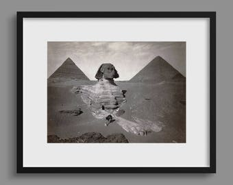 Egyptian Sphinx Partially Excavated - Early Photograph