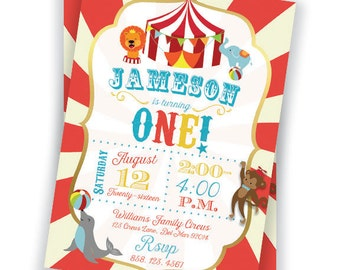 Circus 1st Birthday Party Invitation 5x7 Custom Digital Download Printable Carnival Party