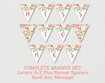 Floral Bridal Shower Banner / Floral Bridal Shower / Watercolor Floral / Peach Floral / Miss To MRS / Letters A-Z /  INSTANT DOWNLOAD B102