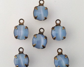 Blue Moonglow Glass Stone 1 Loop Brass Ox Setting Drops 7mm (6) rnd007X