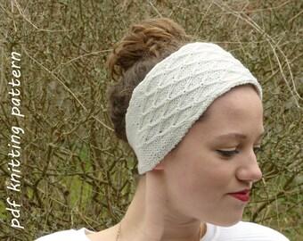 Hand Knit Diamond Quilt Stitch Hairband Knitting Pattern PDF