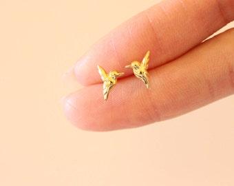 Gold Bird Stud Earrings, Swallow Earrings, Cute earrings, Humming Bird, children earrings, silver stud earrings, teeny tiny studs, animal