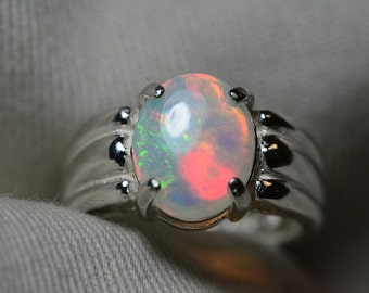 Opal Ring, 1.49 Carat Solid Opal Cabochon Solitaire Ring Appraised at 450.00, Real Opal Jewellery, Sterling Silver, October Birthstone Sale