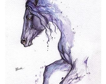 friesian horse, tattoo design, equine, equestrian art, Framed original watercolour painting