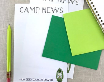 Camp Stationery Letter Sheets, Summer Camp, Kids Personalized Stationery Set, Writing Paper, Custom Stationary Set