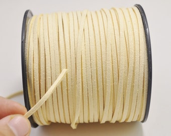 2.7mm Cream Faux Suede Leather Cord,100 yards(One Roll) Microfiber,Vegan Suede,DIY Cord Supplies,Flat Faux Suede Cord,Supplies --7#