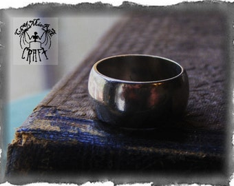 BETROTHED . European Style 9mm Wide Wedding Band Solid Cast Sterling Silver. Made to order any size Handmade by Master Metalsmith Chymiera