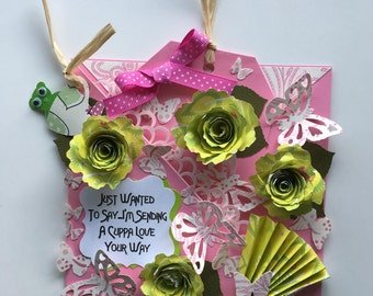 Sending Cup of Love Card, handmade card, cup of love wishes, pink green, 3d flowers, dimensional card, for her card, flowers card