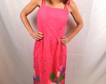 Vintage 1960s Malia Honolulu Pink Shell Hawaiian Summer Dress