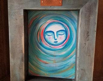 Dream Moon / Mixed Media Shadow Box Painting