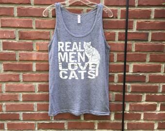 Graphic Tee, Tee Shirts Men, Boyfriend Gift, Cat shirt, funny tshirt, mens t shirt, cat lover gift, Real Men Love Cats, t-shirt, RCTees