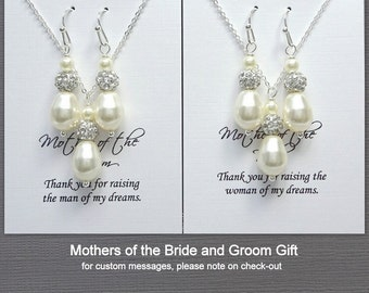 Mother of the Bride Gift Jewelry Set, Mother of the Groom Gift Jewelry Set, Swarovski Ivory Pearl Necklace and Earrings Set, Wedding Jewelry