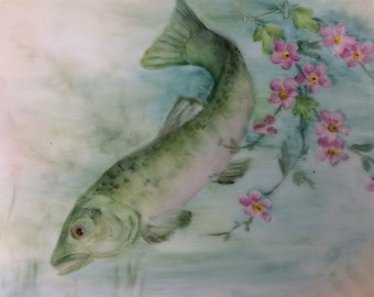 Hand painted porcelain  fish plate
