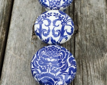 Knobs hand decorated  drawer knobs; blue toile- 1 1/2 inches
