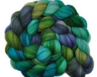 Hand dyed roving - Merino Humbug wool combed top spinning fiber - 3.7 ounces - Porthole 1
