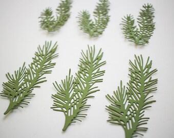 Pine die cuts - Green leaves scrapbooking embellishments - Christmas card making supplies - wedding album decor - paper pine tree branch