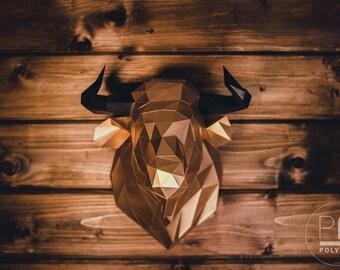 Bull Head (bull, paper bull, origami bull, wall hanging, papercraft, lowpoly, DIY template, PDF)