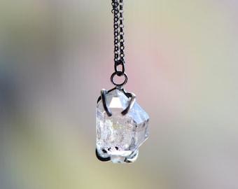 Large Herkimer Oxidized Sterling Silver Necklace. April Birthstone. Raw Herkimer Quartz Pendant. April Necklace. Birthstone Quartz