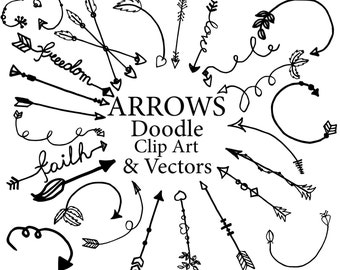 "Arrows Clipart: ""DOODLE ARROWS CLIPART"" Tribal clipart Arrows Graphics Hand Drawn Arrows Diy elements  Indian arrows Vectors arrow pack"