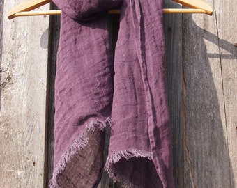 100% Purple Linen Scarf, Eco Linen, Women, Men Accessories