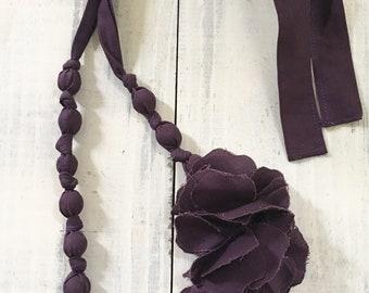 Purple Fabric Floral Necklace