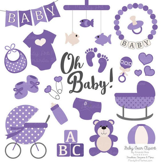 premium oh baby clipart vectors set in purple purple rh etsy com baby supplies clipart baby stuff clipart png