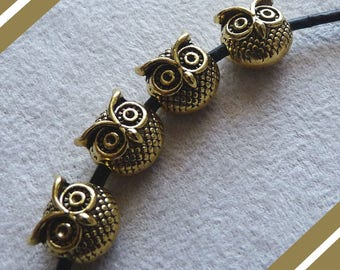 Owl Beads, Owl Charms, Owl Spacer Beads, Antique Gold Tone Bird Charms, Animal Beads, Bird Beads, Animal Charms, Owl Head Beads