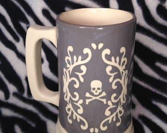 Grey Filigree Skull Beer Stein Coffee Cup Mug Tattoo Pottery Ceramics OHIO USA Hand Made Handmade