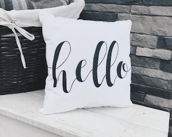 Hello | Pillow | Calligraphy | Handmade | Home Decor | Bedding