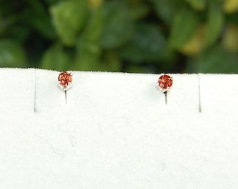 Garnet Earrings, Cranberry Red, Tiny Red Studs, Sterling Silver, January Birthstone, Tiny Garnet Stud, Red Garnet Studs, Tiny Garnet Earring