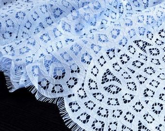 Fabric cotton soft flowing scalloped blue color lace coupon 150x145cm