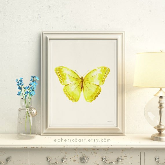 Yellow Butterfly Art Download Yellow Nursery decor Bright