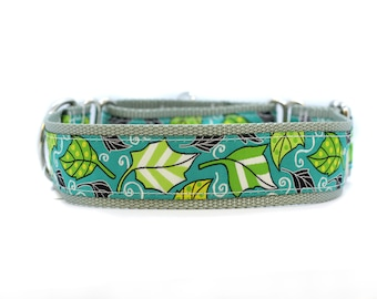Wide 1 1/2 inch Adjustable Buckle or Martingale Dog Collar in Teal Leaves