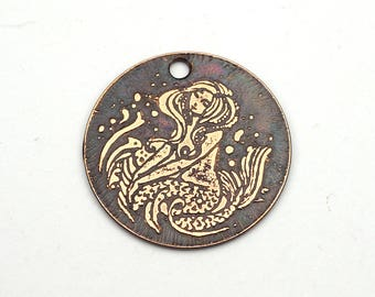Etched copper mermaid charm, round flat metal focal point, 25mm