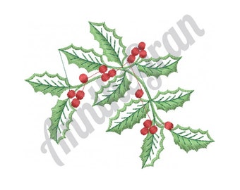 Christmas Holly Berries - Machine Embroidery Design