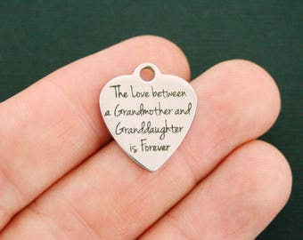 Grandmother Granddaughter Stainless Steel Charm - Exclusive Line - Quantity Options - BFS1540